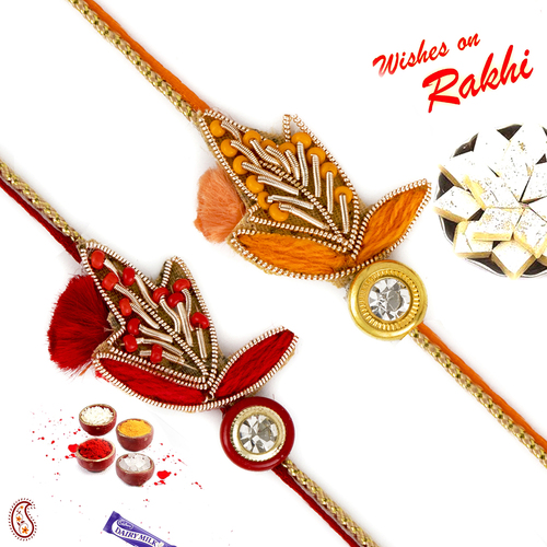 Aapno Rajasthan Set of 2 Red & Orange Colour Floral Zardosi Rakhi