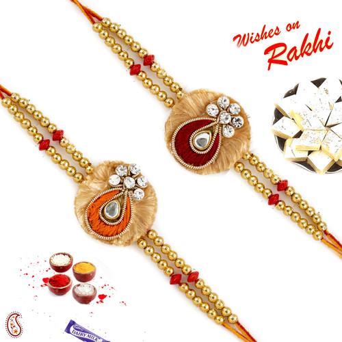Aapno Rajasthan Set of 2 Zardosi Rakhi with American diamonds