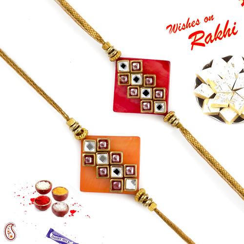 Aapno Rajasthan Set of 2 Red & Orange Rakhi with Kundan Work