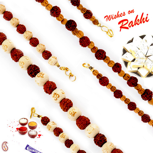 Aapno Rajasthan Set of 2 Beads & Rudraksh Embellished Bracelet Rakhi