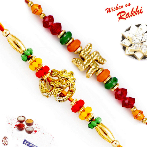 Aapno Rajasthan Set of 2 Coloured Beads Divine Rakhi