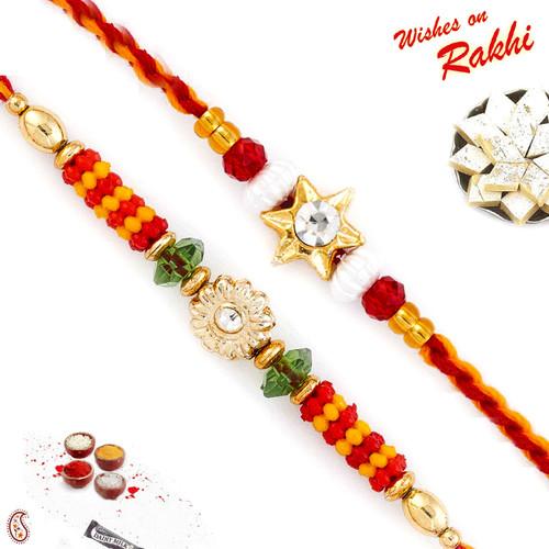 Aapno Rajasthan Set of 2 American Diamond Embellished Rakhi