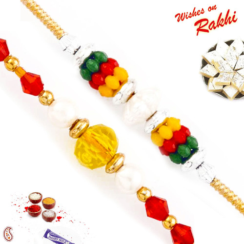 Aapno Rajasthan Set of 2 Coloured and Golden Beads Thread Rakhi