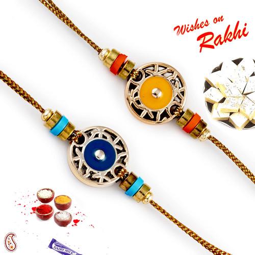 Aapno Rajasthan Set of 2 Blue & Yellow Base fancy Rakhi