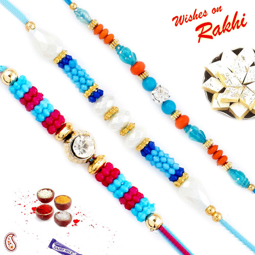 Aapno Rajasthan Set of 3 Multicolor Beads with CZ Rakhi