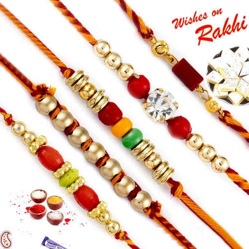 Aapno Rajasthan Set of 5 Golden and Multicolour Beads Mauli Rakhi