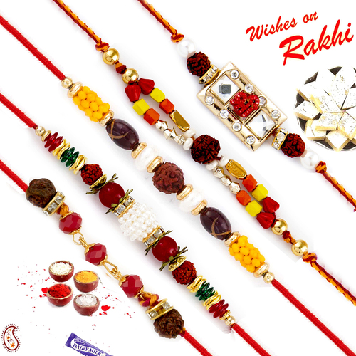 Aapno Rajasthan Set of 5 Lovely Multicolour Beads Studded Rudraksh Rakhi
