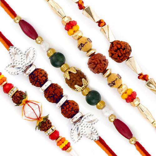 Aapno Rajasthan Set of 5 Golden and Silver Beads Rudraksh Rakhi