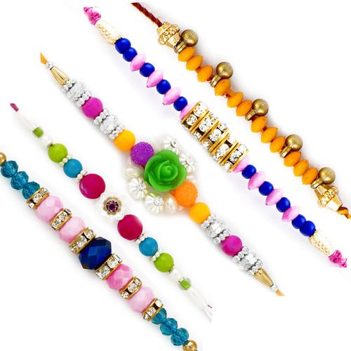 Aapno Rajasthan Set of 5 Lovely Multicolour Beads Pastel colour Rakhi