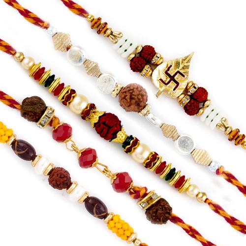 Aapno Rajasthan Set of 5 Red & Golden Beads Rudraksh Rakhi