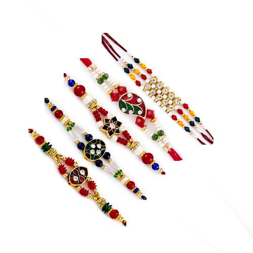 Aapno Rajasthan Set of 5 Multicolour Enamel work Rakhi