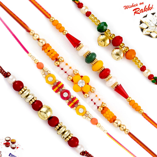 Aapno Rajasthan Set of 5 Traditional Coloured Beads Thread Rakhi