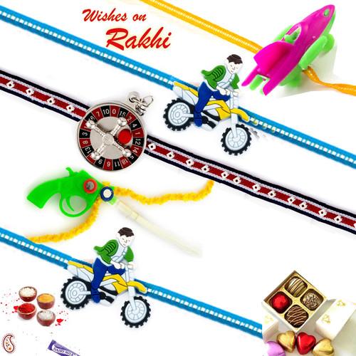 Aapno Rajasthan Set of 5 Colourful Motif Kids Rakhi