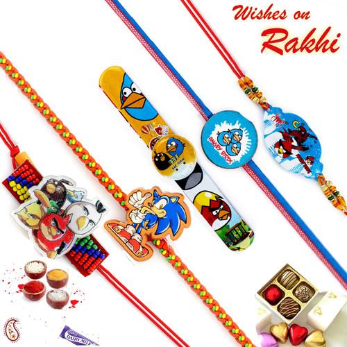 Aapno Rajasthan Set of 5 Colourful Kids Motif Rakhi