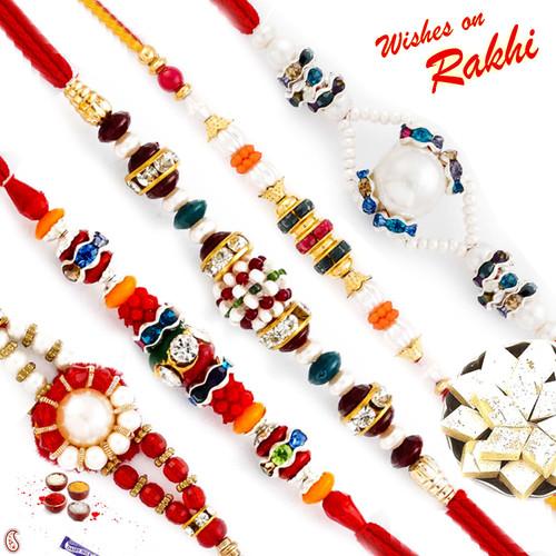 Aapno Rajasthan Set of 5 Colourful and Pearl Beads Rakhi