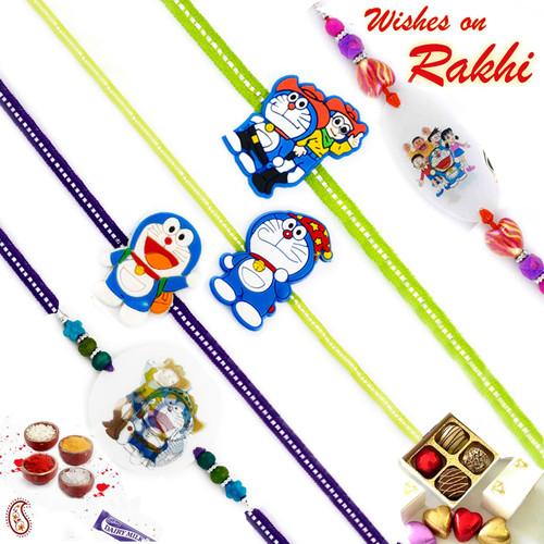 Aapno Rajasthan Set of 5 Colourful Doraemon Motif Kids Rakhi