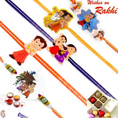 Aapno Rajasthan Set of 5 Colourful Chhota Bheem Motif Kids Rakhi