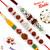 Aapno Rajasthan Set of 3 Multicolour Shade Pretty Beads and Rudraksh Rakhi