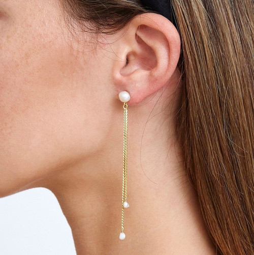 GOLD ROPE & PEARL DUSTER EARRING - WHITE PEARL