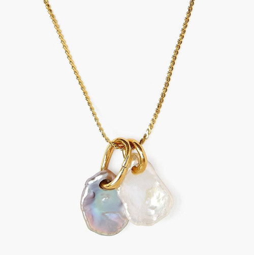 DOUBLE GOLD PEARL PENDANT NECKLACE