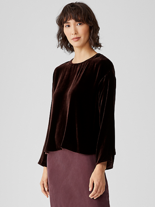 VELVET ROUND NECK BOX TOP