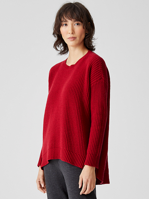 CASHMERE ROUND NK HI-LO SWEATER