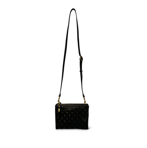 BLACK STUDDED NOTTINGHAM CROSSBODY