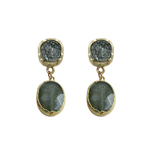GOLD PATINA COIN & LABRADORITE EARRINGS