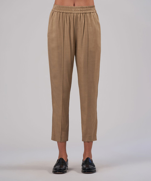 VISCOSE TWILL CROPPED PULL ON PANT