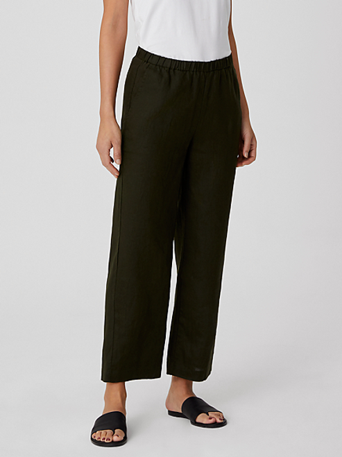 ANKLE LENGTH LINEN STRAIGHT LEG PANT
