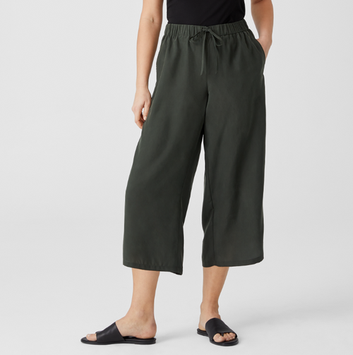 WASHED SILK CROPPED WIDE PANT
