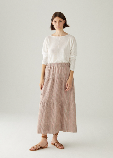 STRIPE 100% LINEN SKIRT