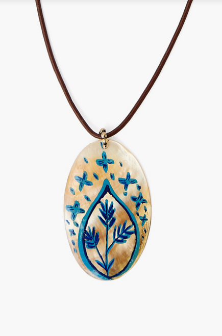 MOTHER OF PEARL SHELL HANDPAINTED NECKLACE - BLUE MIX