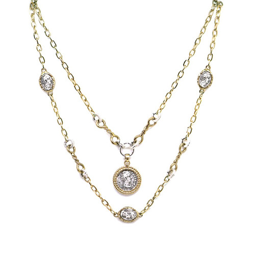 TWO TIER TWISTED RING FAUSTINA NECKLACE - GOLD