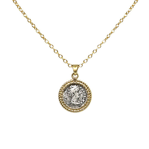 GOLD TWISTED BEZEL FAUSTINA NECKLACE