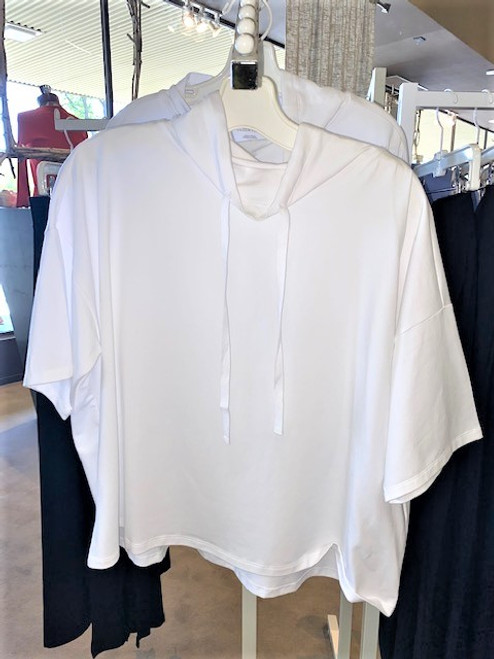 FUNNEL NECK ELBOW SLEEVE BOXY TOP