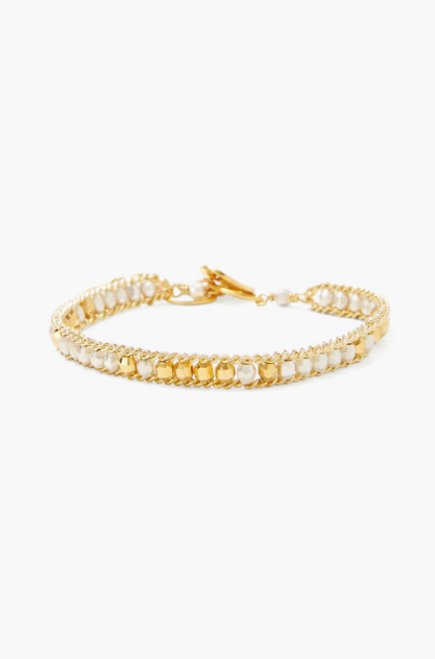 LAYERING BRACELET WITH GOLD AND SILVER BEADS