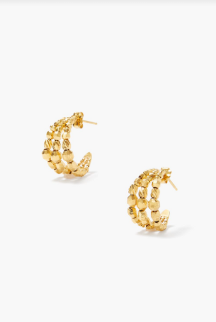 18K GP SS 3 HOOPS W/ GOLD NUGGETS