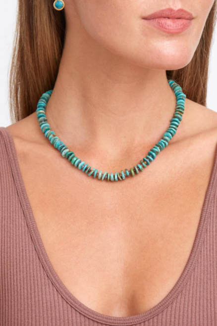 PUKA SHELL NECKLACE W/ TURQUOISE CHIPS