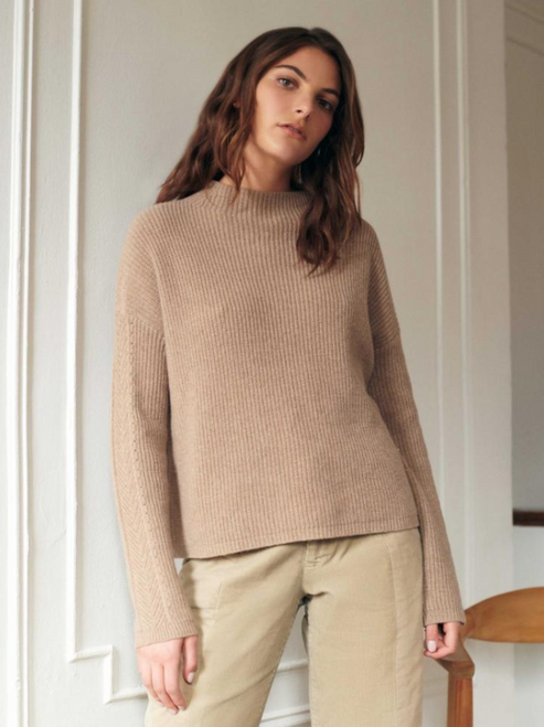 SUSTAINABLE COTTON RIBBED MOCK NECK