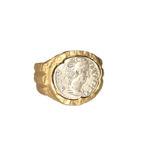 FAUSTINA COIN RING- GOLD- 8