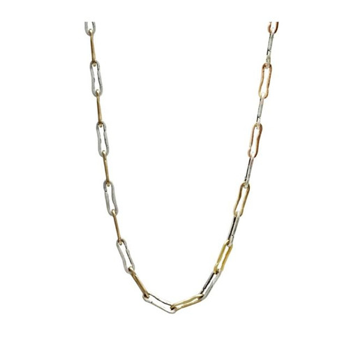 2 TONE SAFETY PIN LINK NK -GLD/VS