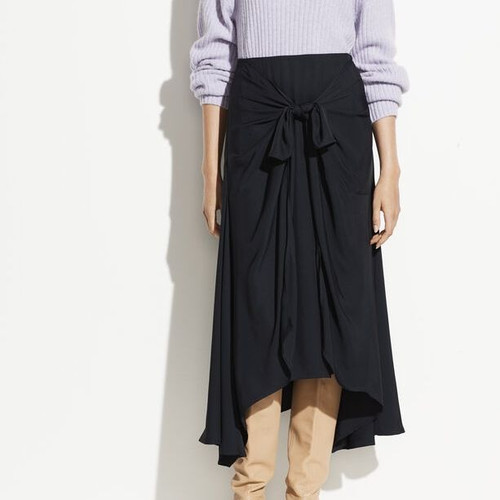 TIE FRONT ASSYMETRICAL SKIRT