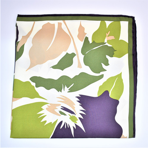 BIG FLOWER  SCARF - KHAKI - 65 X 65