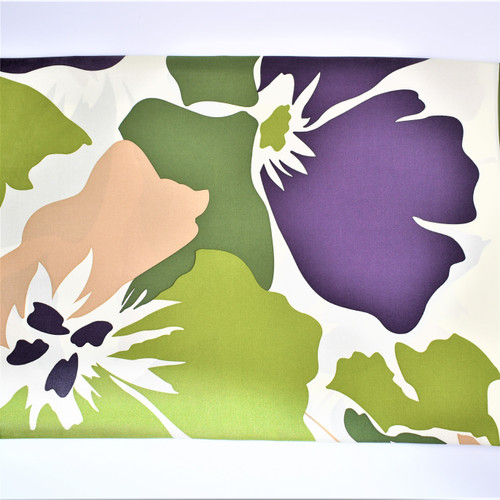 BIG FLOWER SCARF - KHAKI - 88 X 88