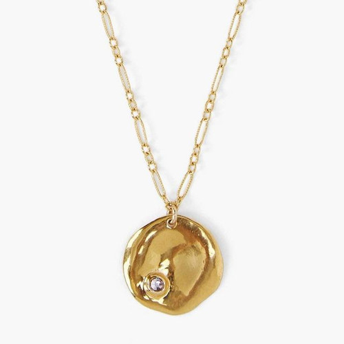 BIRTHSTONE COIN PENDANT NECKLACE