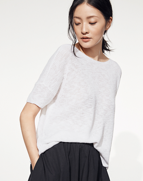 JEWEL NECK COTTON LINEN TOP