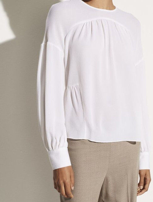SHIRRED L/S BLOUSE