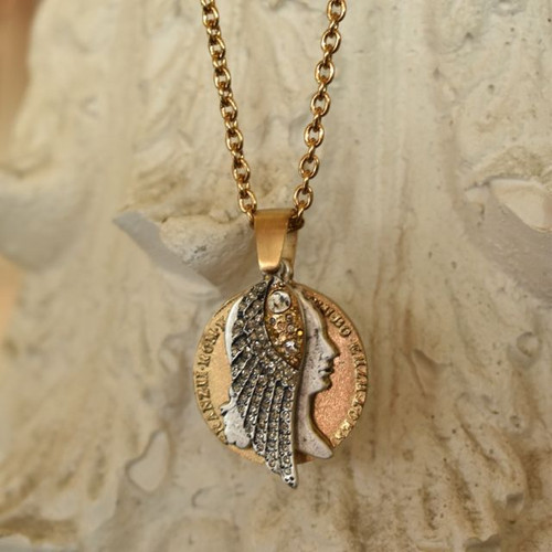 "GOLD FRANCIS II COINS & WING CHARM NECKLACE / 28"" -30"" IN LENTH"