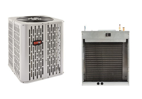 """2 Ton 15 SEER, RunTru brand, by Trane (Sku# RT116) Straight Cool w/Electric Heater Split System Air Conditioner Condenser Model: A4AC4023A1000A Dimensions (HxWxD): 32.6""""H x 23.63""""W x 23.6""""D Air Handler Model: GMU2AEB37101S* Dimensions (HxWxD): 30"""" x 22"""" x 19"""" GM* Models come with factory installed heaters. Upflow Only Air Handler"""